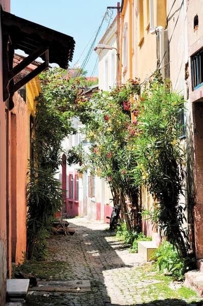 Les rues tranquilles et colorées de la vieille ville grecque d'Ayval?k forment un véritable dédale où il fait bon se perdre par un après-midi ensoleillé.