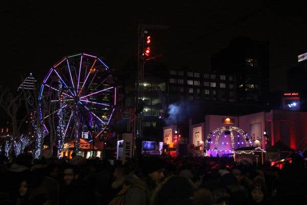 Vue sur la place des Festivals durant la Nuit blanche