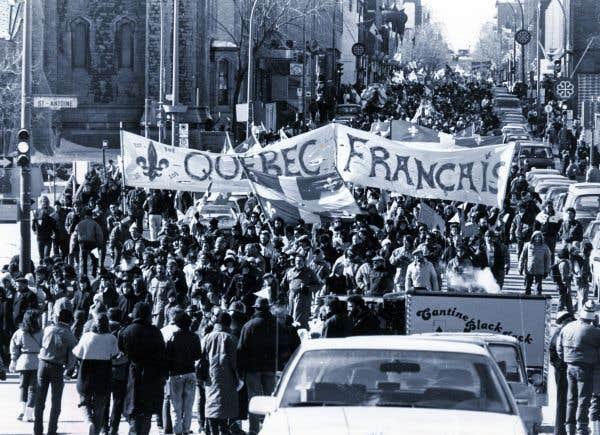 Manifestation pour la loi 101 en mars 1989