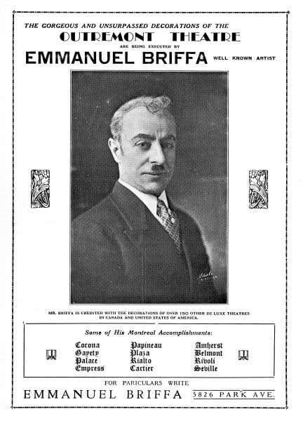 Programme d'ouverture du Théâtre Outremont, 4 octobre 1929. Publicité d'Emmanuel Briffa, artiste, peintre et décorateur de théâtres.