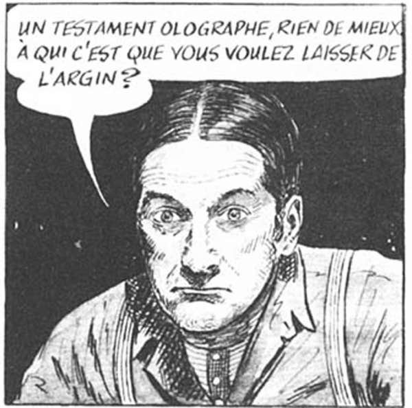 Séraphin, le père Ovide, le notaire LePotiron et Donalda: quelques-uns des personnages de Claude-Henri Grignon tels qu'incarnés dans la bande dessinée d'Albert Chartier.