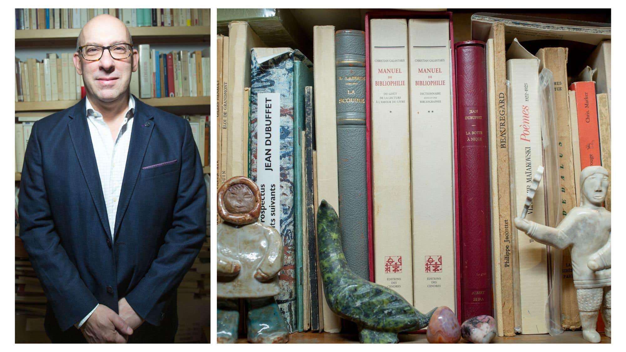 Bruno Lalonde est libraire depuis 25 ans. Il vient tout juste de déménager son commerce, Le livre voyageur — 25 000 livres — de Côte-des-Neiges à Rosemont, rue Bélanger. À la maison, sa biblio se double d'un autre 25 000 bouquins. «Ma passion première est la littérature et le cœur sensible de ma collection est les artistes québécois (poésie et art) autour des automatistes (1948) jusqu'à Michel Tremblay (1968), période effervescente séminale», explique-t-il au Devoir. Les premiers ouvrages qu'il a voulu conserver étaient des livres d'enfance: La petite fille aux allumettes, Tintin et le Crabe aux pinces d'or, et Le vieil homme et la mer. Et il ne mettra jamais ni guide de l'auto ni guide de bricolage dans ses rayons, précise-t-il.