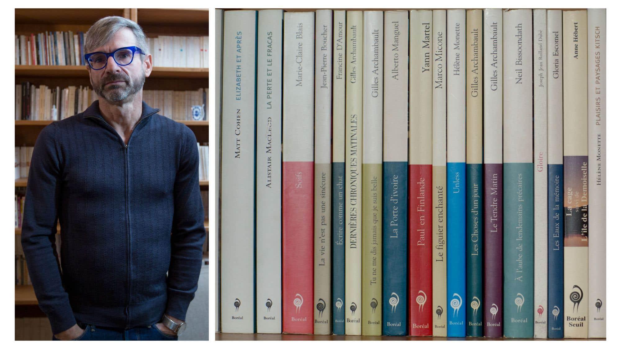 Hervé Guay, professeur d'études théâtrales à l'UQTR, n'aime pas l'idée de mêler aux livres les CD, DVD et vidéos, et préfère ne pas exposer ces derniers à la vue. «Il se dégage pour moi tant de beauté, de beauté sensible, de chaleur, de l'objet livre», précise-t-il. Il en garde 1500 à la maison et quelque 800 à son bureau à l'université. «Je considère que les ouvrages de mon bureau sont tout aussi personnels que ceux qui sont à la maison; certains, même plus.» De quoi est faite sa biblio? «60 % de romans et nouvelles, 15 % de théâtre, 15 % d'essais, 5 % de poésie et 5 % de beaux livres ou de livres pratiques. Parmi les livres, ou plutôt les œuvres auxquelles je suis le plus attaché, il y a les poèmes de Cavafy, le théâtre de Pirandello et les romans de Pavese, surtout Le bel été. Bien d'autres livres m'ont touché ou fait réfléchir, mais j'ai découvert ces trois-là au début de la vingtaine, un temps où j'étais encore impressionnable.»
