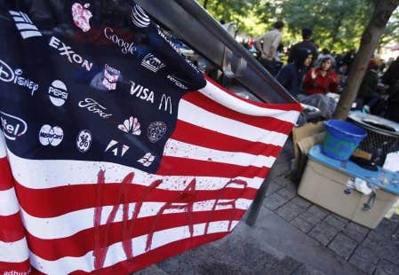 Manifestants am&eacute;ricains du mouvement Occupy Wall Street<br />