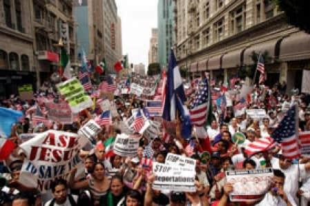 Manifestation de travailleurs illégaux mexicains à Los Angeles