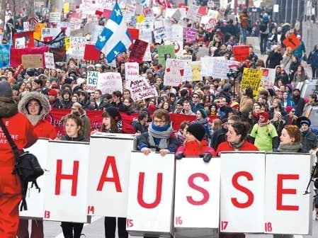 Manifestation d'étudiants contre la hausse des frais de scolarité, le 24 février dernier.