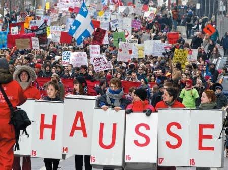 Manifestation &eacute;tudiante contre la hausse des droits de scolarit&eacute; le 24 f&eacute;vrier dernier. <br />