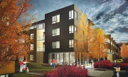 Les lofts au rez-de-chauss&eacute;e et au quatri&egrave;me &eacute;tage auront une grande terrasse de bois. Les autres auront un balcon. <br />