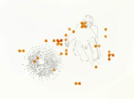 Patrice Duhamel, Sans titre, vers 2003-2004, trac&eacute; au carbone, autocollant et r&eacute;sine sur papier, 38 x 50,5 cm<br />
