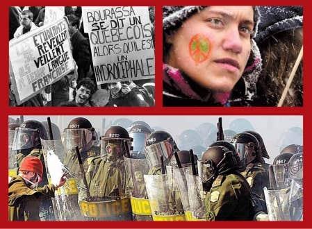 Une manifestation pour appuyer la loi 101 attire 60 000 en 1989. 200 000 personnes ont manifest&eacute; &agrave; Montr&eacute;al contre la guerre en Irak le 15 mars 2003. On a compt&eacute; entre 50 000 et 65 000 manifestants au Sommet des Am&eacute;riques, &agrave; Qu&eacute;bec en 2001.<br /> <br />