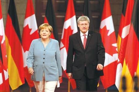 La chancelière allemande, Angela Merkel, et le premier ministre canadien, Stephen Harper, ont discuté d'économie mercredi et jeudi derniers, à Ottawa.