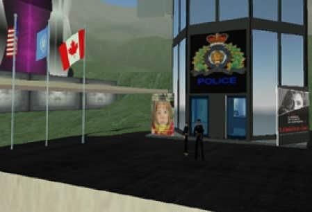 Le responsable des relations publiques pour le groupe RCMP/GRC Police se présente sous le nom d'Emixam Mills. L'homme, dont il est impossible de connaître la véritable identité, dispose d'un quartier général qui présente l'emblème officie