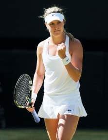 La réaction d'Eugenie Bouchard après avoir éliminé Simona Halep.