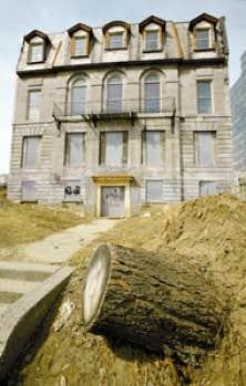 Même les arbres  ont été coupés autour de la maison historique abandonnée et placardée depuis 20 ans.