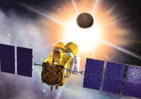 Illustration montrant le satellite français Corot, lancé hier, dont le rôle consistera notamment à repérer dans l'immensité galactique des planètes gravitant autour de lointaines étoiles.