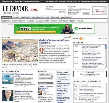 La présente version de site du Devoir, la sixième depuis 1997