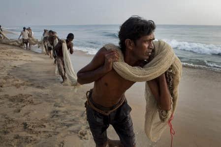 Des pêcheurs sri-lankais, durement éprouvés par le tsunami dévastateur d'il y a cinq ans, ramènent leurs filets sur la plage. La mer leur rappelle chaque jour la mort tragique de plusieurs de leurs proches.