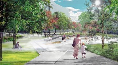 L&rsquo;aire publique du parc de Place de l&rsquo;Acadie: une s&eacute;rie de trois longs et larges bancs de pierre d&rsquo;un m&egrave;tre sur 12 et des jets de brume lin&eacute;aires suivent le mouvement des gens et structurent l&rsquo;espace. Visuellement, la place inclut les plages gazonn&eacute;es adjacentes et pr&eacute;sente un grand espace libre d&rsquo;obstacles visuels, permettant la tenue de spectacles et d&rsquo;&eacute;v&eacute;nements.<br />