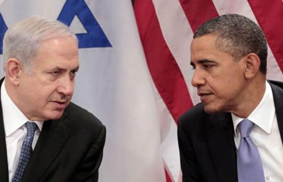 Le premier ministre israëlienBenjamin Nétanyahou en compagnie du président américain Barack Obama en septembre 2011