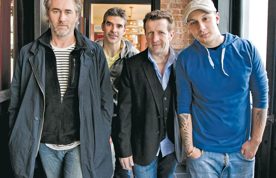 Roy Dupuis, Roger Léger et le rappeur Samian incarnent les trois personnages qui « ont vendu leur âme au diable » dans le sombre et drôle polar de Yan Lanouette Turgeon (derrière).