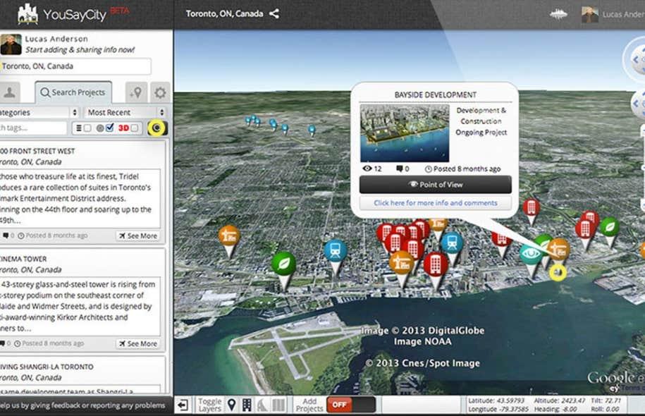 La plateforme 3D en ligne YouSayCity.com permet aux membres d'une communauté de débattre de propositions de développement de villes ou de territoires.
