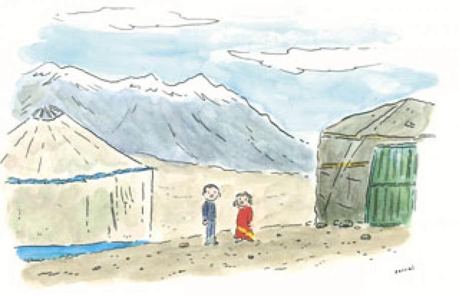 Dans cette re?gion du nord de l'Afghanistan, prote?ge?e des guerres, des talibans et des burqas autant que de la modernite?, ils avaient le temps. (Cette illustration fait partie de l'édition spéciale BD du Devoir.)