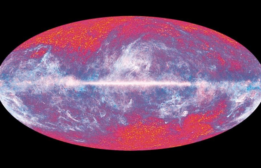 Carte du rayonnement fossile captée par le satellite européen Planck en 2012 et qui montre l'Univers tel qu'il était 380 000 ans après le Big Bang.