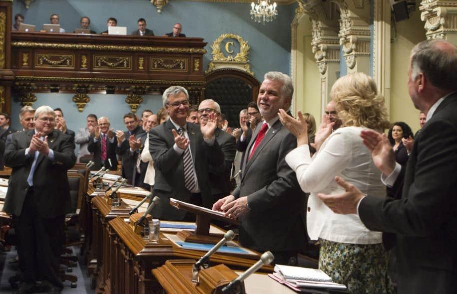 Philippe Couillard a été applaudi par ses collègues libéraux lors de son discours.