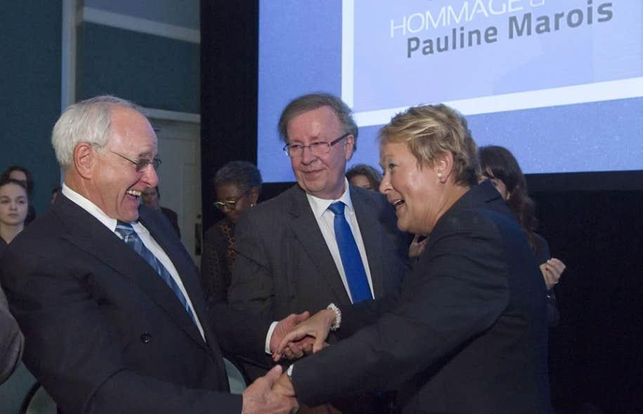 L'ex-ministre Jacques Léonard et l'actuel président du PQ, Raymond Archambault, étaient au nombre des 300 personnes réunies à Drummondville afin de rendre hommage à Pauline Marois.