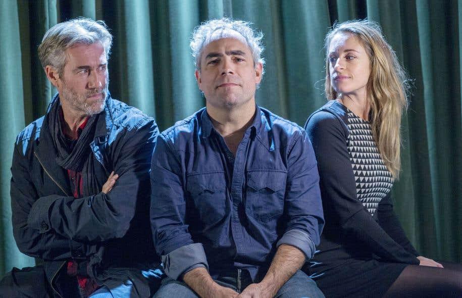 Le réalisateur du film Ceci n'est pas un polar, Patrick Gazé, entouré des comédiens Roy Dupuis et Christine Beaulieu