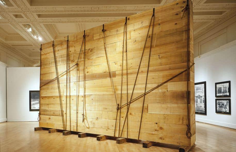 Dominique Blain, Monuments, 1997-1998, émulsions sur film marouflées sur toile, bois et corde (sculpture avec poutres)