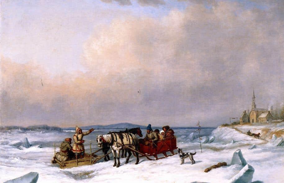 «Le pont de glace à Longue-Pointe»<em>,</em>Cornelius David Krieghoff,1847