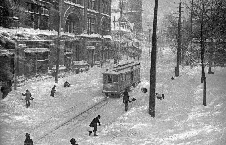 Journée de tempête, rue Sainte-Catherine, Montréal, 1901