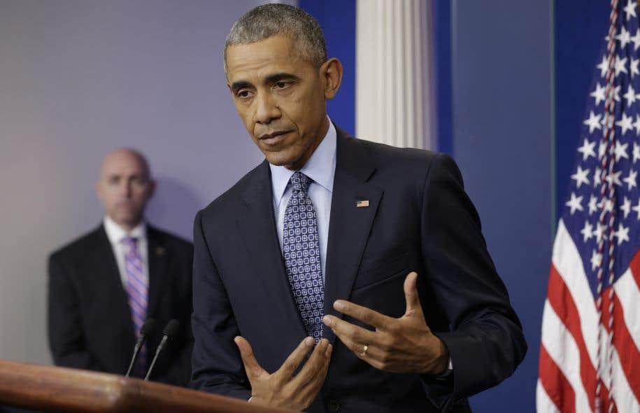 Le président sortant des États-Unis, Barack Obama, lors de sa dernière conférence de presse