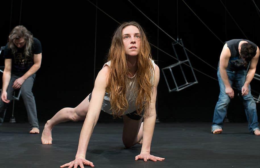 Les danseurs Patrick Lamothe, Kimberley De Jong et Simon-Xavier Lefebvre, en répétition la semaine dernière