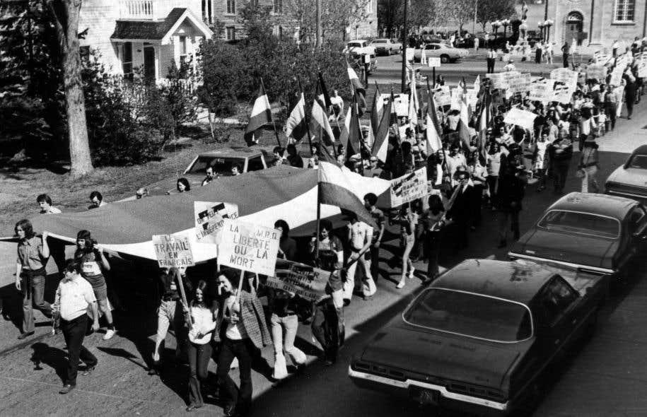 Manifestation pour la préservation de la langue française à Montréal en 1972