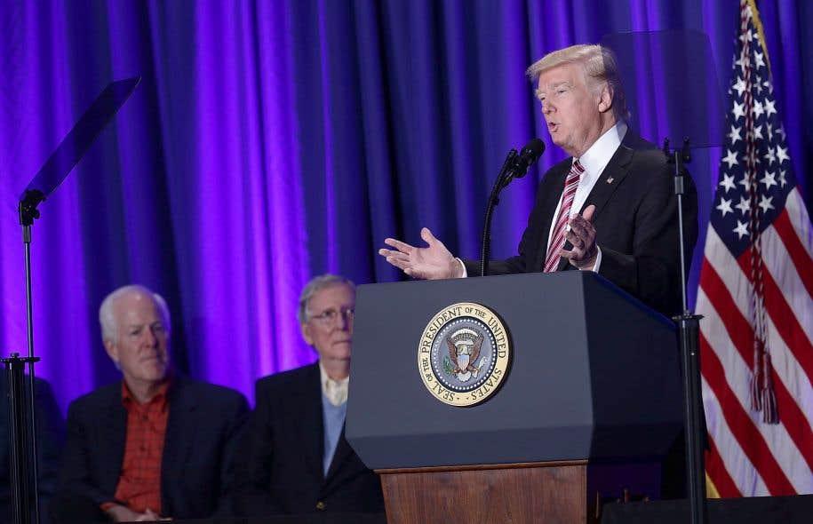 Le président Donald Trump jeudi lors d'un rassemblement des Républicains