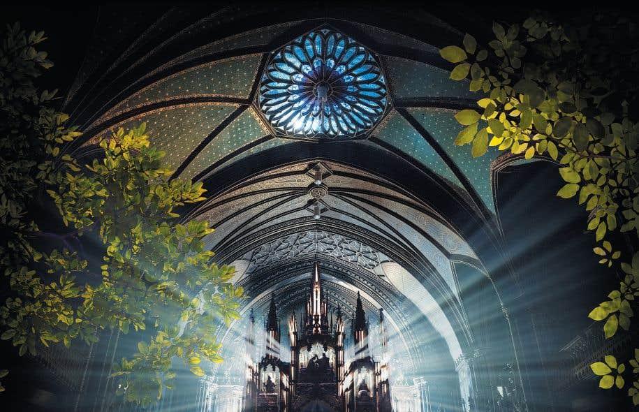 La basilique Notre-Dame sera la vedette d'une expérience immersive signée Moment Factory. Le spectacle son, lumière et vidéo «Aura» y sera présenté à compter du 20mars.