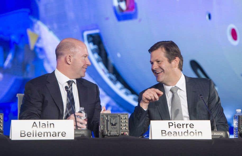Le président-directeur général de Bombardier, Alain Bellemare (gauche) et le président du conseil d'administration — et ancien p.-d.g. —, Pierre Beaudoin, le 29 avril 2016