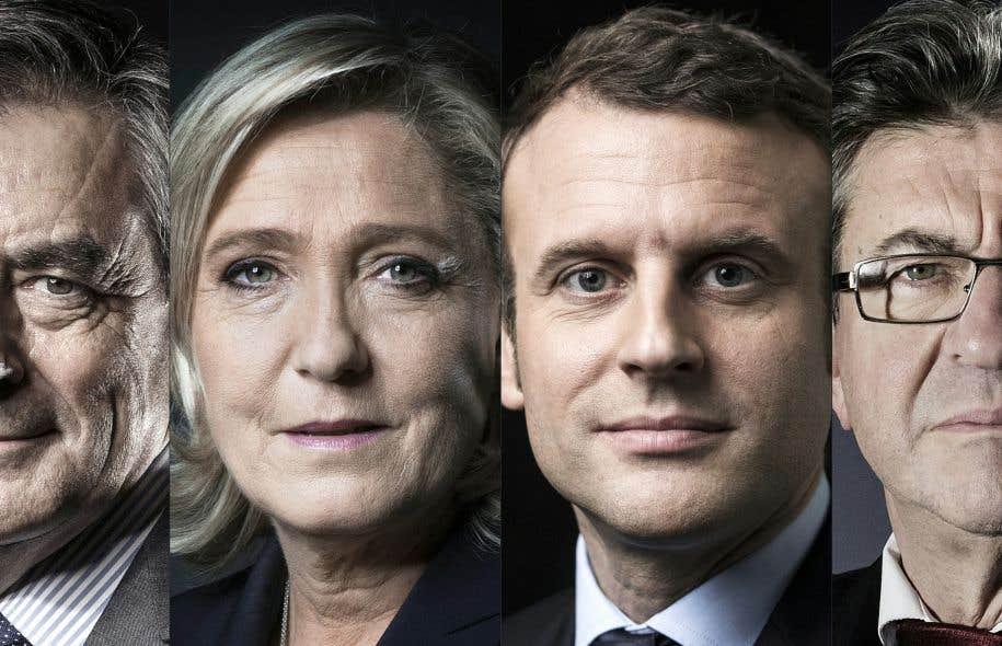 François Fillon, Marine Le Pen, Emmanuel Macron et Jean-Luc Mélenchon