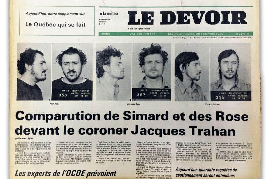 La une du «Devoir» du mercredi 30 décembre 1970