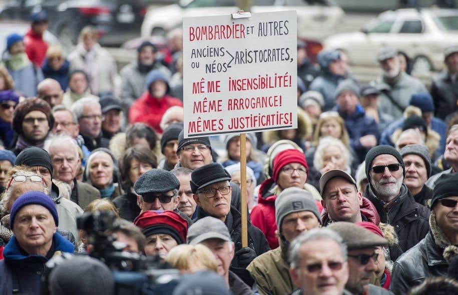 Manifestation contre les rénumérations excessives chez Bombardier, le 2 avril dernier, à Montréal