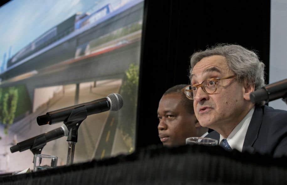 Le p.-d.g. de la CDPQ, Michael Sabia, lors de la présentation du projet REM