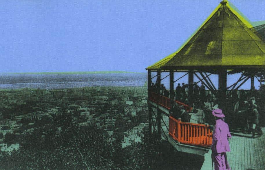 Image tirée de «Première visite à Montréal»: «Vue depuis l'un des belvédères du mont Royal», Neurdein frères, phototype, vers 1910