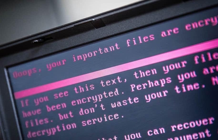 Un ordinateur portable infecté par la cyberattaque du 27 juin 2017