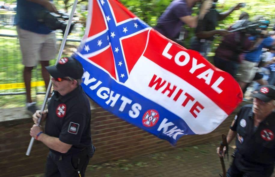 Des manifestants du Ku Klux Klan à Charlottesville, en Virginie, le 8 juillet dernier