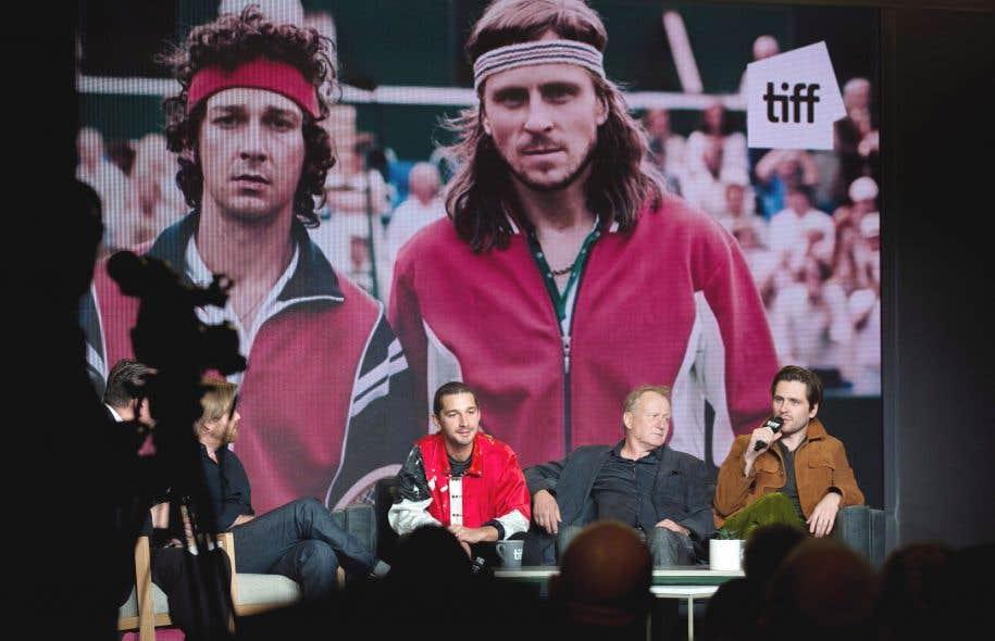 De gauche à droite: le cinéaste Janus Metz, les acteurs Shia LaBeouf, Stellan Skarsgard et Sverrir Gudnason, en conférence de presse jeudi à Toronto