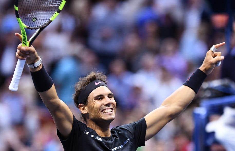 L'Espagnol Rafael Nadal célèbre sa victoire contre le Sud-Africain Kevin Anderson.