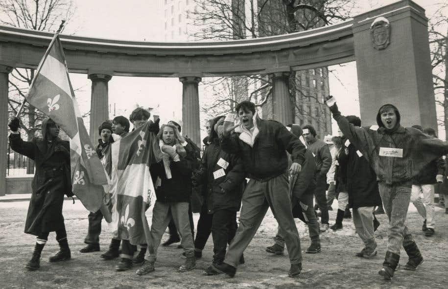 Mobilisation le 16 décembre 1988 lors de la préparation du projet de loi 178 par le gouvernement de Robert Bourassa modifiant la loi 101.