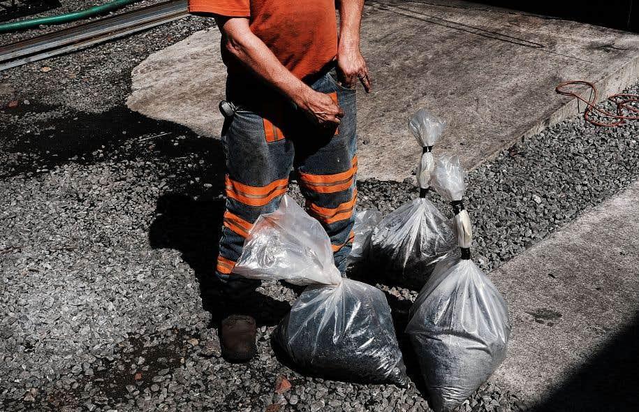 Un homme transporte des échantillons de charbon sur le site d'une centrale de la Virginie-Occidentale.